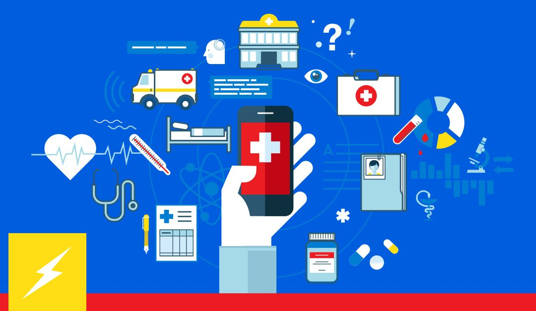 Medical icons in circle around hand holding phone