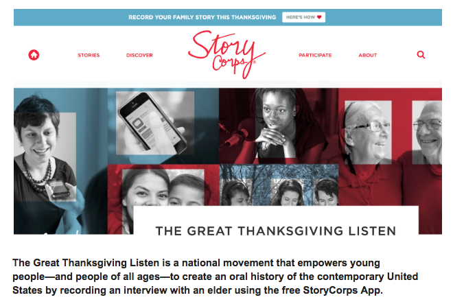 StoryCorps Thanksgiving Listen