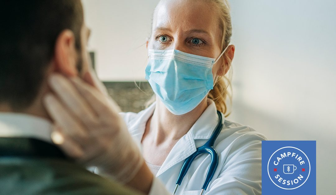 Health care provider with mask