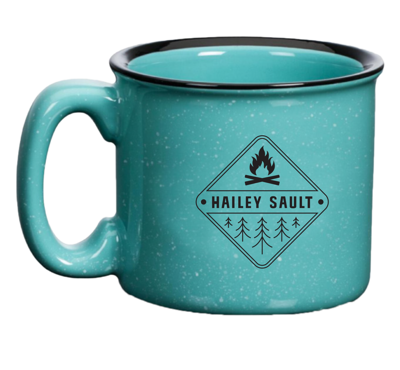 Camping mug with Hailey Sault logo